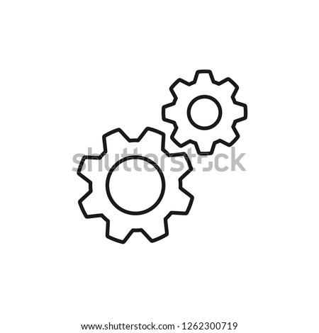 Black isolated outline icon of two cogwheels on white background. Line icon of gear wheel. Settings. Foto stock ©