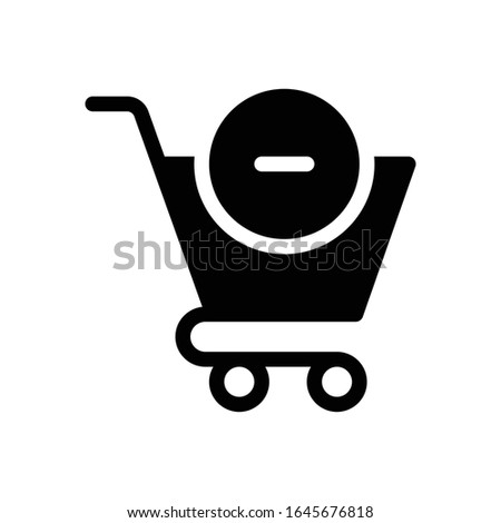 Black Isolated Vector Remove From Cart Icon - Cart Icon