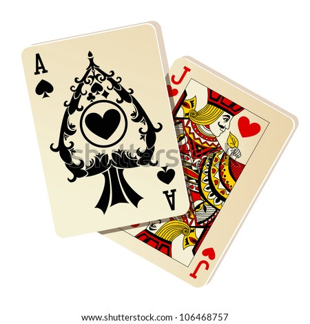 Black Jack Two cards on white background