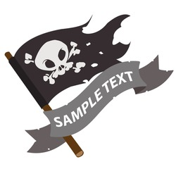 Black Jolly Roger pirate flag with ribbon banner.