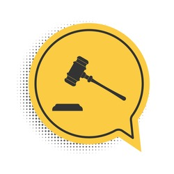 Black Judge gavel icon isolated on white background. Gavel for adjudication of sentences and bills, court, justice, with a stand. Auction hammer. Yellow speech bubble symbol. Vector.