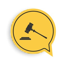 Black Judge gavel icon isolated on white background. Gavel for adjudication of sentences and bills, court, justice, with a stand. Auction hammer. Yellow speech bubble symbol. Vector