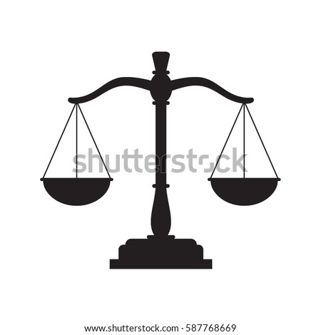 Black justice scales icon. Law balance symbol. Libra in flat design. Vector illustration.
