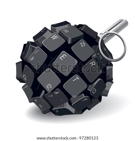 Black Keyboard Grenade on White Background. Vector Illustration