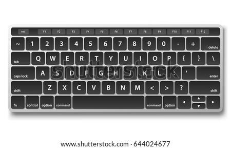 black keyboard object on white