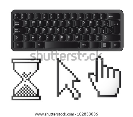 black keyboard with cursors isolated over white background. vector