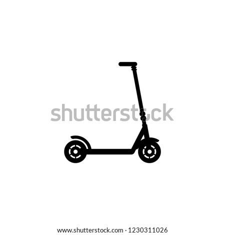 Black kick scooter or balance bike icon. Flat e scooter isolated on white. Vector illustration. Eco transport symbol. Healthy journey. Ecology. Go green. Hipster.