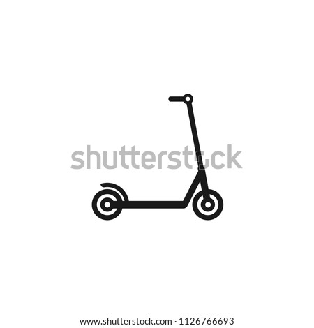Black kick scooter or balance bike icon. Flat push scooter isolated on white. Vector illustration. Eco transport symbol. Healthy journey. Ecology. Go green. Hipster.