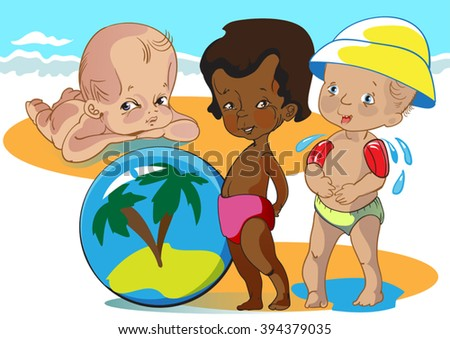 black kid playing on a sea beach with 