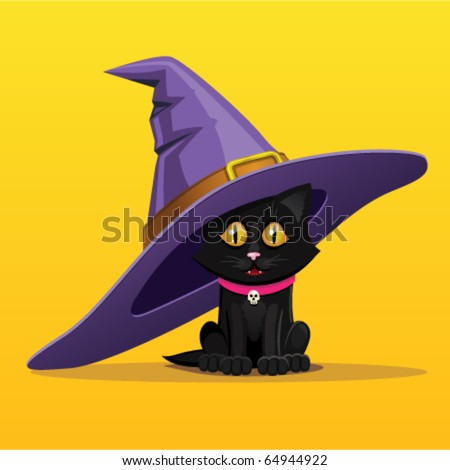 Black kitten in a witch hat