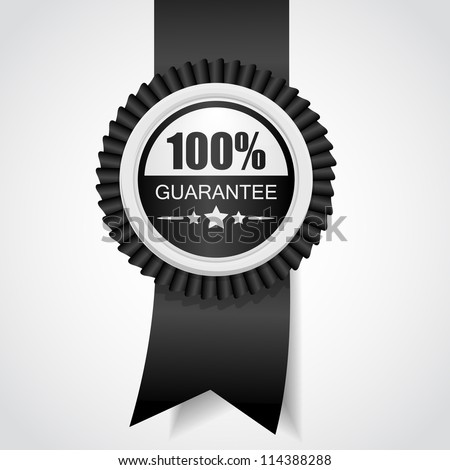 Black label 100% Guarantee Vector illustration