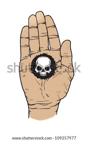 black label on the hand. vector illustration