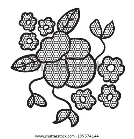 Black lace flower applique