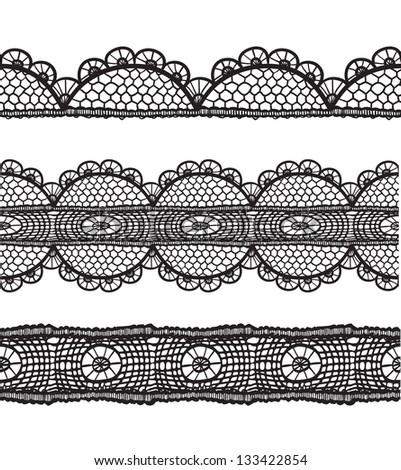 Black lace lines set.