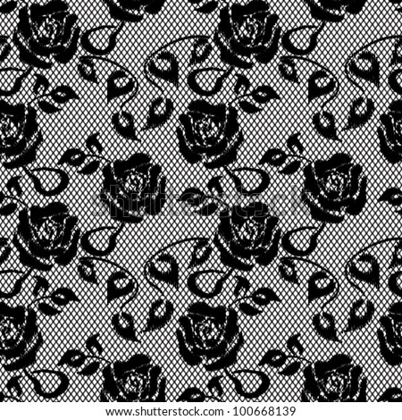 black lace seamless pattern on