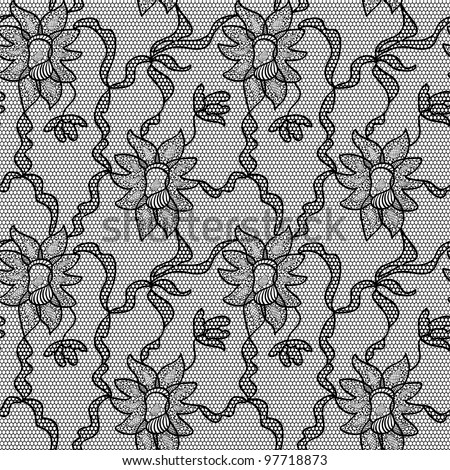 Black lace vector fabric seamless pattern/Black lace vector fabric seamless  pattern with orchids