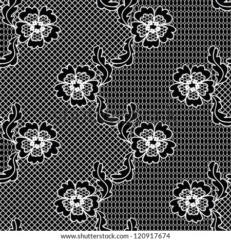 Black lace vector fabric seamless  pattern with FLOWERS