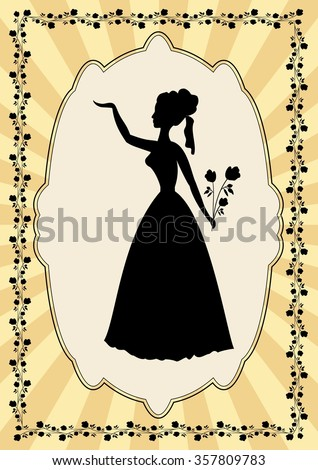 Black lady silhouette in vintage frame with flower motif in art deco style. Elegant old fashioned poster, useful as an invitation to prom, celebration, party, greeting
