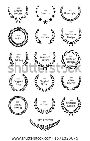Black laurel wreath with Film Awards design elements. Premium insignia, traditional victory symbol on white background. Triumph, win poster, banner layout with award ribbons. Frame, border template