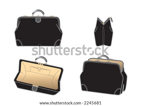 Black leather-bag, illustrator drawing, four different views - stock vector