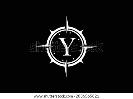 Black letter Y with Creative Compass Concept Logo Design Template. Compass logo sign symbol. Modern vector logo design for business and company identity. Zdjęcia stock ©