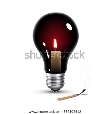 black light bulb with candle