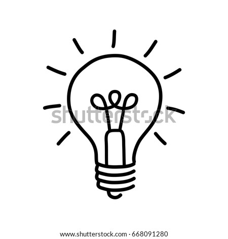 Black lightbulb drawing on white background