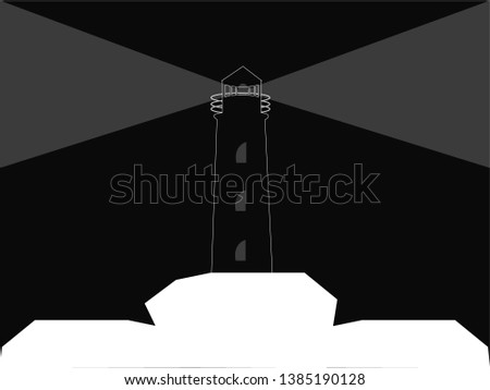 black lighthouse with gray