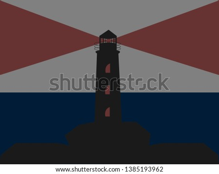 black lighthouse with red