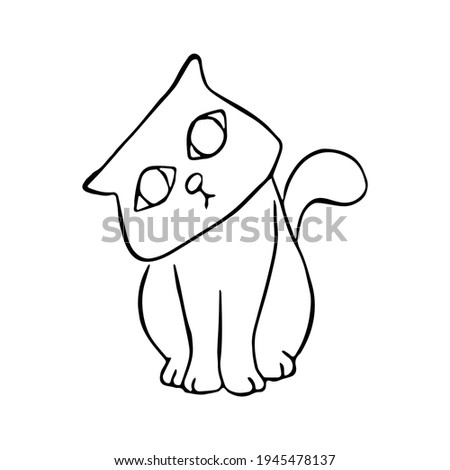 Black line a cat sat and tilted his neck on white silhouette. Hand drawn cartoon style. Doodle for coloring, decoration or any design. Vector illustration of kid art. Stock fotó ©