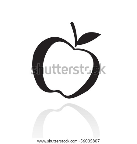 Black line art apple isolated on white