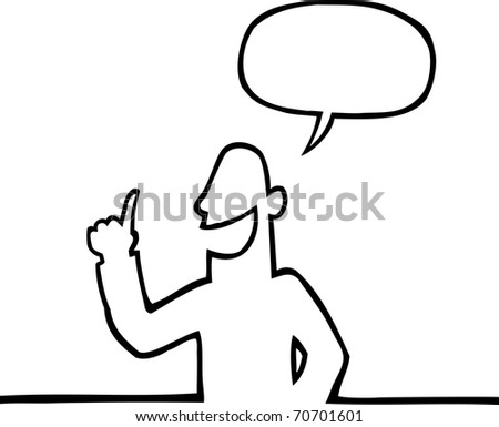 Black line art illustration of a person explaining something with his index finger raised.