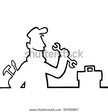 Black line art illustration of a repairman with tools and toolbox.