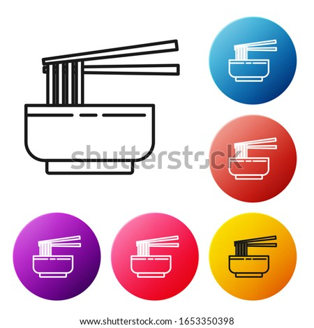 Black line Asian noodles in bowl and chopsticks icon isolated on white background. Street fast food. Korean, Japanese, Chinese food. Set icons colorful circle buttons. Vector Illustration