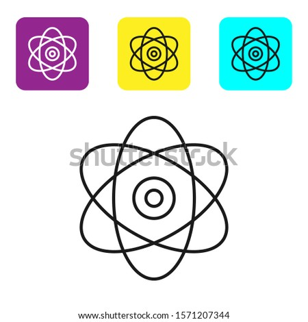 Black line Atom icon on white background. Symbol of science, education, nuclear physics, scientific research. Electrons and protons sign. Set icons colorful square buttons. Vector Illustration