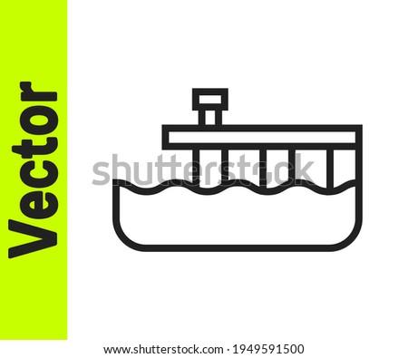 black line beach pier dock icon