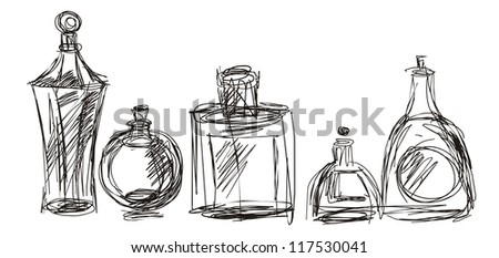 black line drawing of cosmetic bottles on a white background
