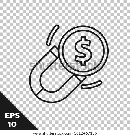 Black line Magnet with money icon isolated on transparent background. Concept of attracting investments. Big business profit attraction and success.  Vector Illustration