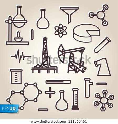 Black line minimalistic science icons set, vector Eps10 illustration.