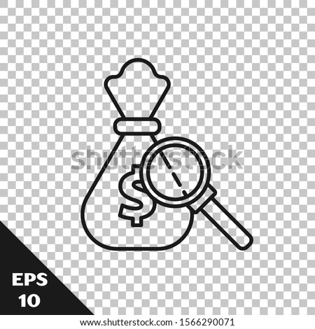 Black line Money bag and magnifying glass icon isolated on transparent background. Dollar or USD symbol. Cash Banking currency sign.  Vector Illustration