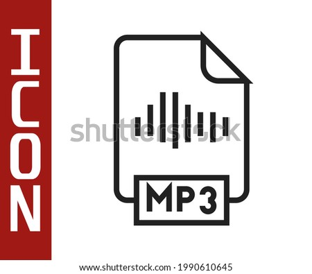Black line MP3 file document. Download mp3 button icon isolated on white background. Mp3 music format sign. MP3 file symbol.  Vector Stock photo ©