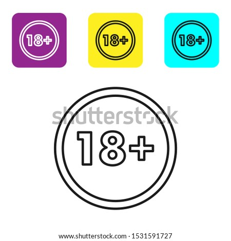 Black line Plus 18 movie icon isolated on white background. Adult content. Under 18 years sign. Set icons colorful square buttons. Vector Illustration