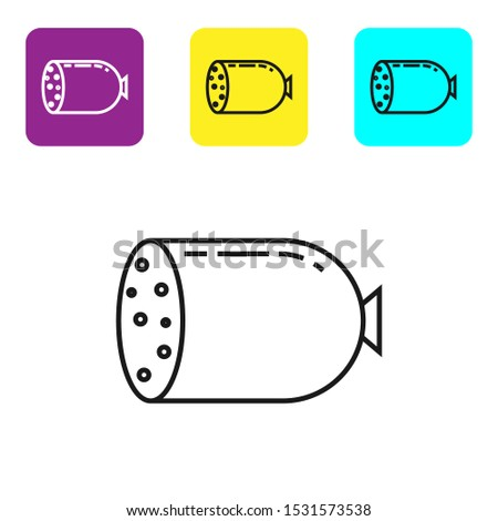 Black line Salami sausage icon isolated on white background. Meat delicatessen product. Set icons colorful square buttons. Vector Illustration