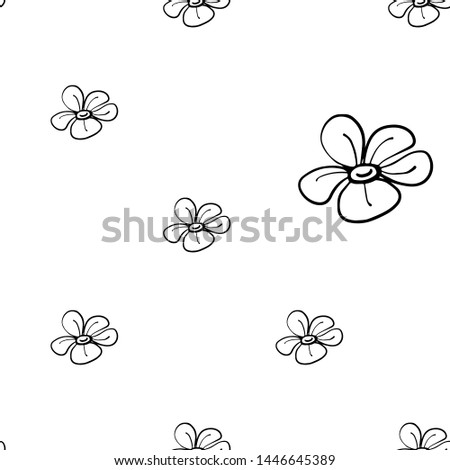 Black line seamless pattern with simple flower. Simple doodle hand drawn art. Vector linear design on white background.