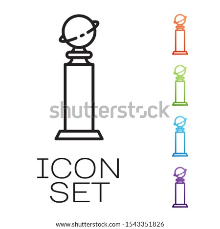 Black line Trophy Golden Globe icon isolated on white background. Academy award icon. Films and cinema symbol. Set icons colorful. Vector Illustration