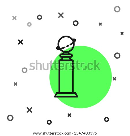 Black line Trophy Golden Globe icon isolated on white background. Academy award icon. Films and cinema symbol.  Vector Illustration