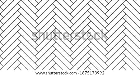 Black line vintage herringbone wooden floor. Vector monochrome seamless pattern. Parquet design texture