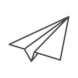 black linear paper plane icon