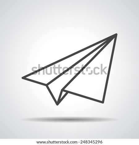 black linear paper plane icon on a grey background