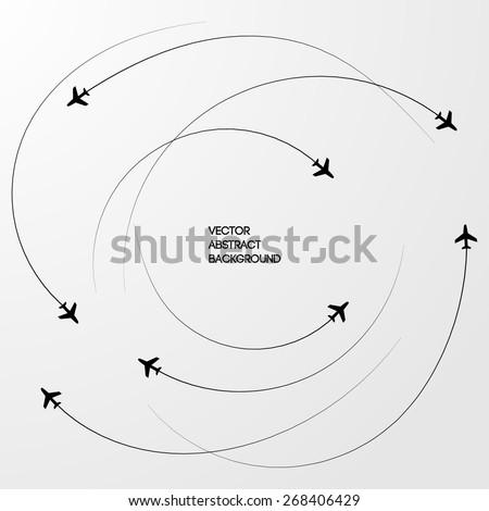 Black lines. Roundabout Circulation. The Sky. airplanes. Gray background